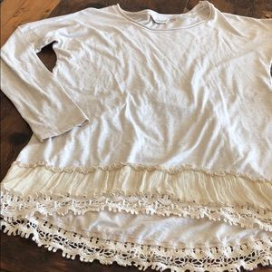TRUE GRIT Long Sleeve Ruffle Lace Trim Boho Top